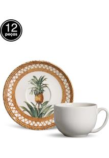 Conjunto 12Pçs Xícaras De Chá Porto Brasil Coup Pineapple Branco/Bege