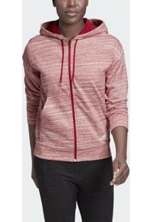 Blusa Adidas Capuz Must Haves Mélange Borgonha Feminina - Feminino-Vermelho