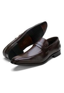Sapato Social Fepo Store Couro Solado Borracha Antiderrapante Marrom