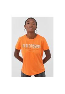 Camiseta Colcci Perfeitíssima Neon Laranja
