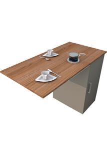 Mesa De Cozinha Articulada Retangular Enjoy Castanho E Fumê 100 Cm