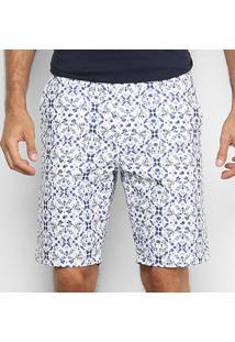 Bermuda Sarja Colcci Davi Estampada Masculina - Masculino-Branco+Azul