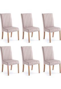 Conjunto Com 6 Cadeiras De Jantar Joice I Cinza E Castanho