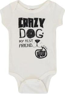 Body Bebê Up Baby Suedine Dog - Masculino-Bege