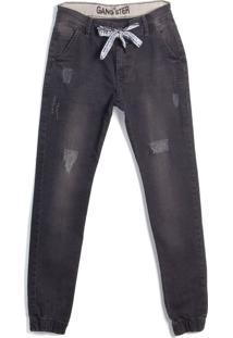 Calça Jeans Infantil Gangster Jogger Preto - 10