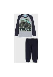 Pijama Kyly Longo Infantil Monster Truck Cinza/Azul-Marinho