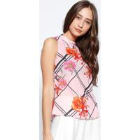 1ad9e5063a Blusa Floral Com Amarração- Rosa Claro   Preta- Estiestilo H