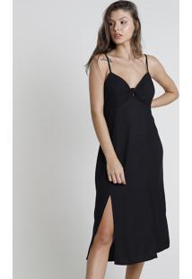 Vestido Feminino Midi Com Nó E Fendas Alça Fina Preto