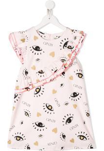 Kenzo Kids Vestido Com Acabamento De Babados E Estampa De Logo De Olho - Rosa