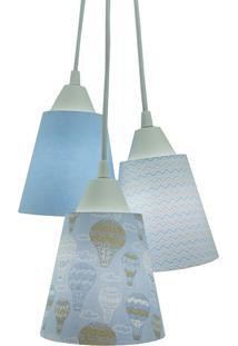 Lustre Pendente Luminária Quarto De Bebê Tecidos Balão Tons De Azul