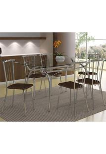 Mesa 379 Com Vidro Incolor Cromada Com 6 Cadeiras 154 Cacau Carraro