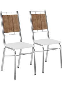 Kit 2 Cadeiras Mdp Native Napa Branco Cromado Móveis Carraro