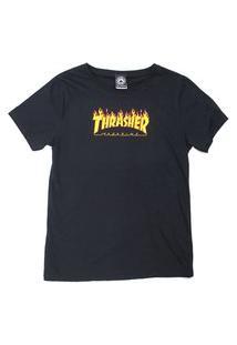 Camiseta Feminina Thrasher Magazine Flame Logo Girl Preta