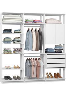 Closet Modulado 1 Armário C/ 3 Gavetas E 2 Cabideiros Clothes 9009 – Be Mobiliário - Branco