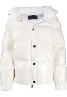 Goose Tech Patent Hooded Padded Coat - Branco