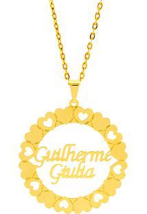 Gargantilha Mandala Horus Import Manuscrito Guilherme - Giulia Banho Ouro Amarelo 18 K - 1060193 - Kanui