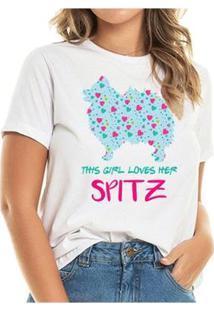 T-Shirt Loves Spitz Heart Feminina - Feminino-Branco