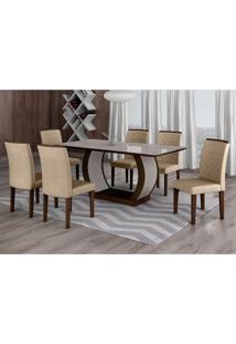 Conjunto De Mesa De Jantar Com Vidro E 6 Cadeiras Maia Ii Linho Castor E Cinza