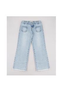 Calça Jeans Infantil Com Bolsos Barra Desfiada Azul Claro