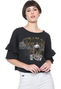 Camiseta Triton Estampada Preta