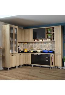 Cozinha Completa Sicília 16 Portas Com Tampo E Vidro Preto/Argila - Multimóveis