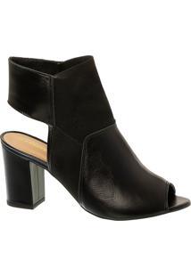 Sandal Boot Em Couro Preto E Salto Bloco Alto