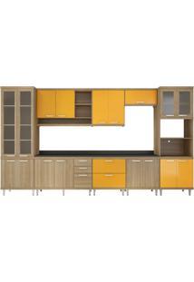 Cozinha Compacta Almafuerte 17 Pt 5 Gv Argila E Amarelo