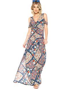 Vestido Acrobat Longo Evasê Azul