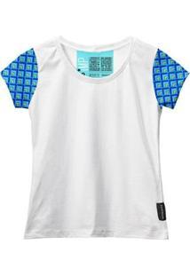 Camiseta Baby Look Feminina Algodão Estampa Manga Curta Leve - Feminino-Branco+Azul
