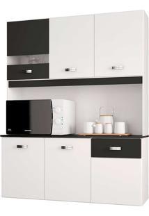 Cozinha Compacta Suspensa 6 Portas E 1 Gaveta Lili - Poquema - Branco / Preto