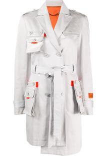 Heron Preston Trench Coat Assimétrico Com Bolsos - Cinza