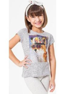 Camiseta Infantil Raposa Reserva Mini Feminina - Feminino-Branco+Preto