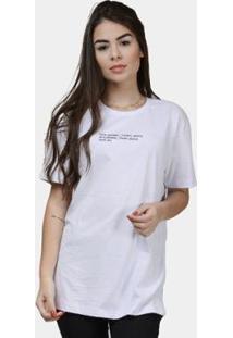 Camiseta Part.B Minimal Algodão Feminina - Feminino-Branco