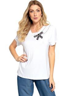 T-Shirt Malha Bordada Energia Fashion Branco