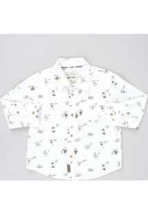 Camisa Infantil Estampada De Monstrinhos Manga Longa Branca