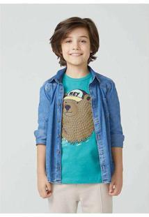 Camisa Jeans Infantil Menino Azul