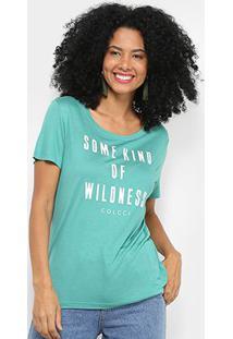 Camiseta Colcci Estampada Manga Curta Feminina - Feminino-Verde+Chumbo