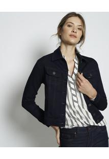 Jaqueta Com Recortes & Botões- Azul Escuro- Leelee