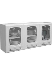 Armário Aéreo De Cozinha Com 3 Portas De Vidro 4034 Branco - Bertolini
