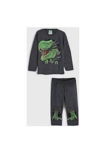 Pijama Kyly Longo Infantil Dinossauro Grafite