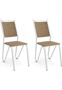 Conjunto Com 2 Cadeiras De Cozinha Londres Cromado E Capuccino