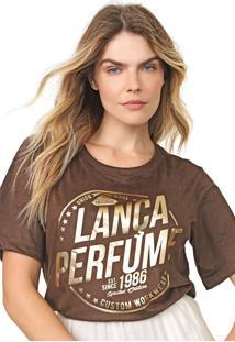 Camiseta Lança Perfume Suede Lettering Marrom