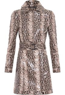 Casaco Feminino Trend Coat Like Leather - Animal Print