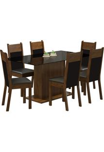 Conjunto Sala De Jantar Madesa Mesa Com Tampo De Vidro E 6 Cadeiras Atlanta - Rustic/ Preto