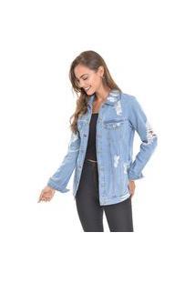 Jaqueta Jeans Dialogo Oversized Com Botões Na Frente