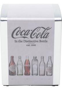 Porta Guardanapo Metal Coca-Cola Evolution Of Bottles Cinza 11X9,5X14 Cm Urban