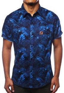 Camisa Camaleão Urbano Folhagem Costela De Adão Masculina - Masculino-Azul