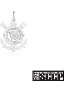 Pingente De Prata 925 Com Escudo Do Corinthians Extra Grande - Unissex-Prata