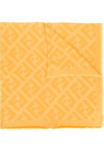 Fendi Cachecol De Tricô Com Logo Ff - Amarelo