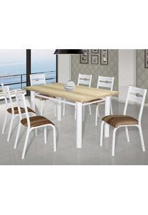Conjunto De Mesa Com 6 Cadeiras - Luna - Ciplafe - Capuccino